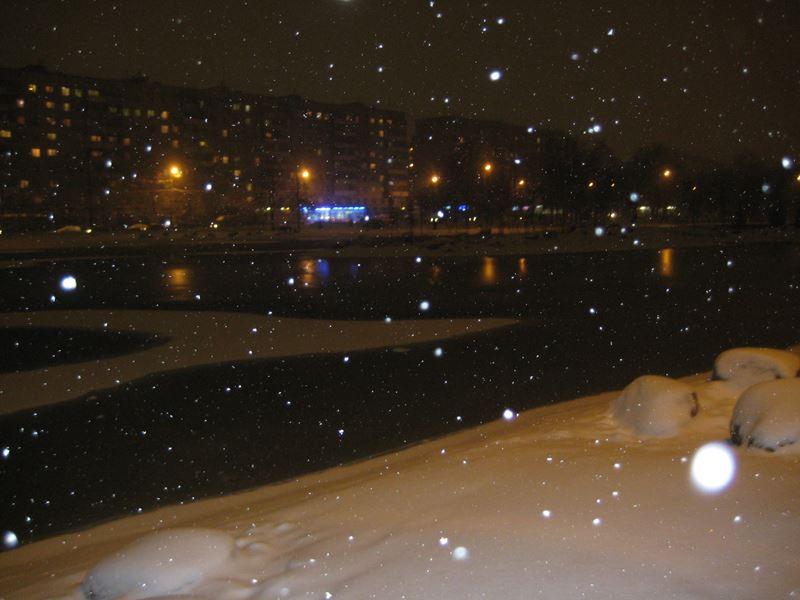 Ангарские пруды.Ночь, Снег.