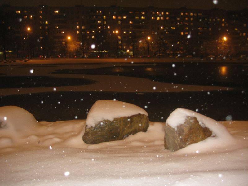 Москва. Ангарские пруды под пушистым первым снегом.