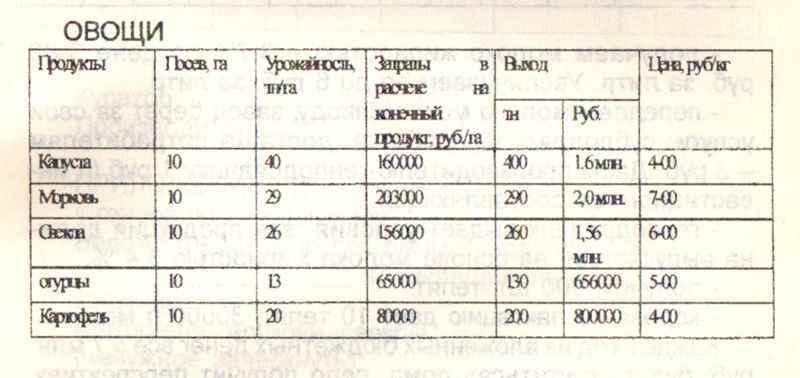 Расчёт 10- Овощи