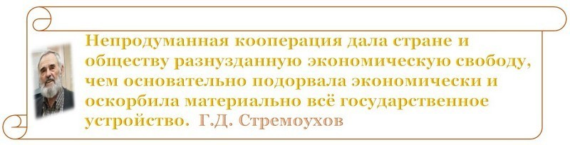 Г. Д. Стремоухов. Неуправляемое управление или кооперация или прихватизация