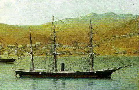 Транспортное судно Манджур во Владивостоке1860-1870 годы